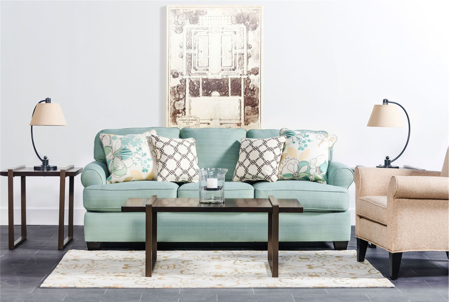 Daystar seafoam sofa 450 living spaces or ashley for Family sofa sets