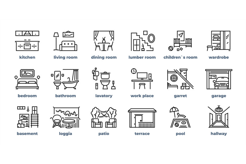 Home Rooms Line Icons Living Room Bedroom Kitchen Bathroom Simple Out By Spicytruffel Thehungryjpeg Com House Rooms Living Room Bedroom Kitchens Bathrooms