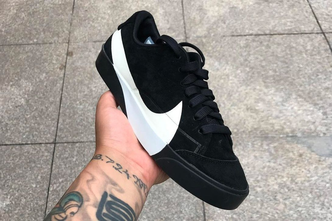 97477fb37a09 Nike Blazer City Low XS Oversized Swoosh Reveal Black White Teaser Info Big