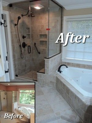 bathroom remodel example like the corner tub and shower enclosure to the ceiling