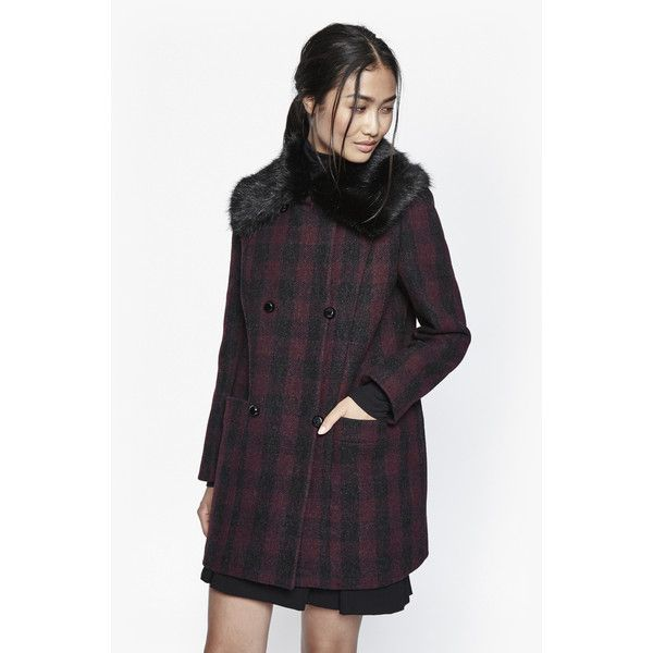 99fafe24b0 French Connection Highland Wool Fur Collared Coat ( 280) ❤ liked on  Polyvore featuring outerwear
