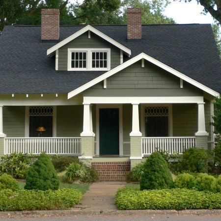 sage green exterior with brick and brown. | Build me a castle ...