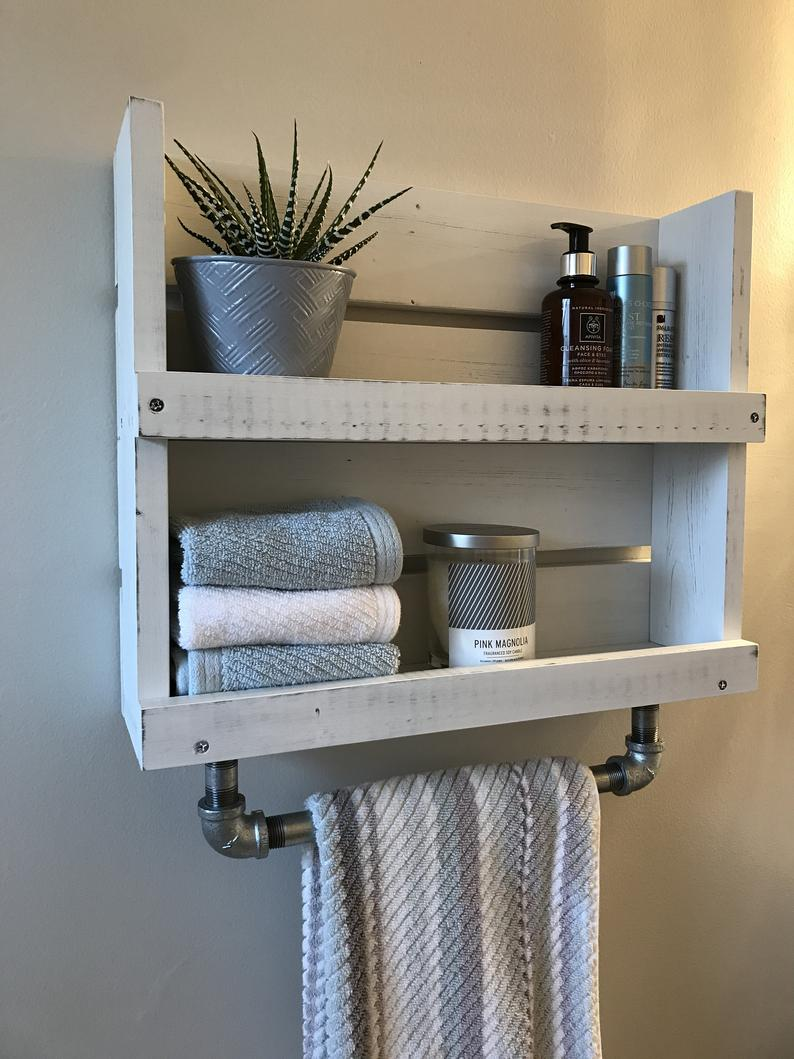 Bathroom Shelf With Towel Bar White Distressed Shelf Wood Etsy