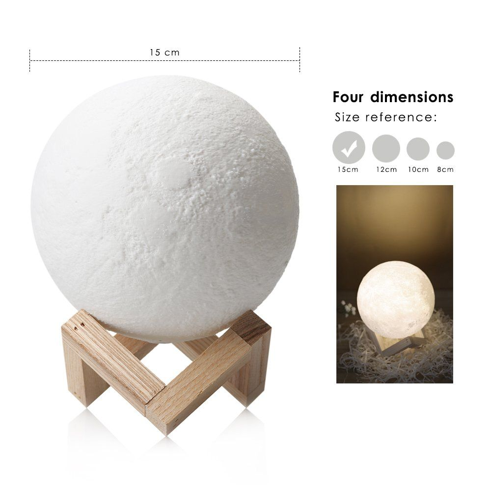 Feitenn 3d Printing Moon Led Lamp Night Light Smart Touch Switch Battery Powered Usb Charging 2 Modes L Home Decor Christmas Gifts Rooms Home Decor Lamp Holder