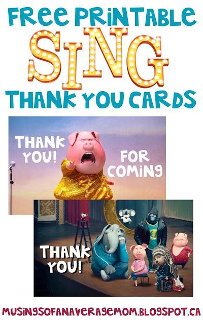 Sing movie thank you cards sing movie movie and birthdays everything you need for a sing birthday party sing invitations designed by myself sing water bottle labels from daisy celebrat bookmarktalkfo Images
