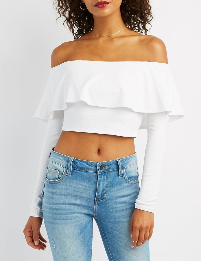 dc26304cdeb60 Charlotte Russe Ruffle-Trim Off-The-Shoulder Top