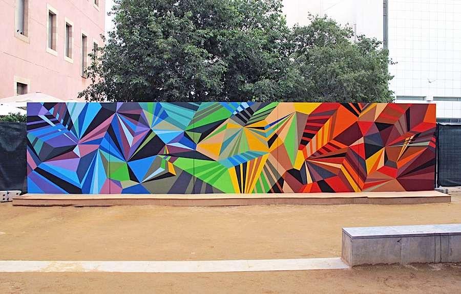 Colorful geometric graffiti murals inspirations for Mural art designs
