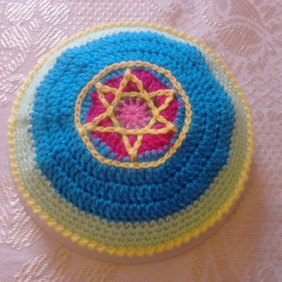 STAR OF DAVID Crochet kippot kippah yarmulke scullcap cupple blue ...