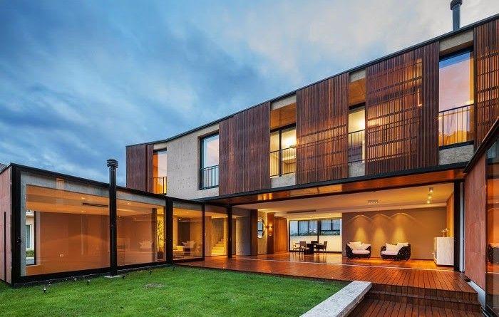 fachada-madera-y-hormigon-casa-moderna Casas Pinterest - fachada madera