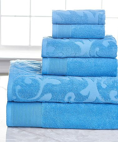 This Sea Blue Egyptian Cotton Towel Set Is Perfect Zulilyfinds