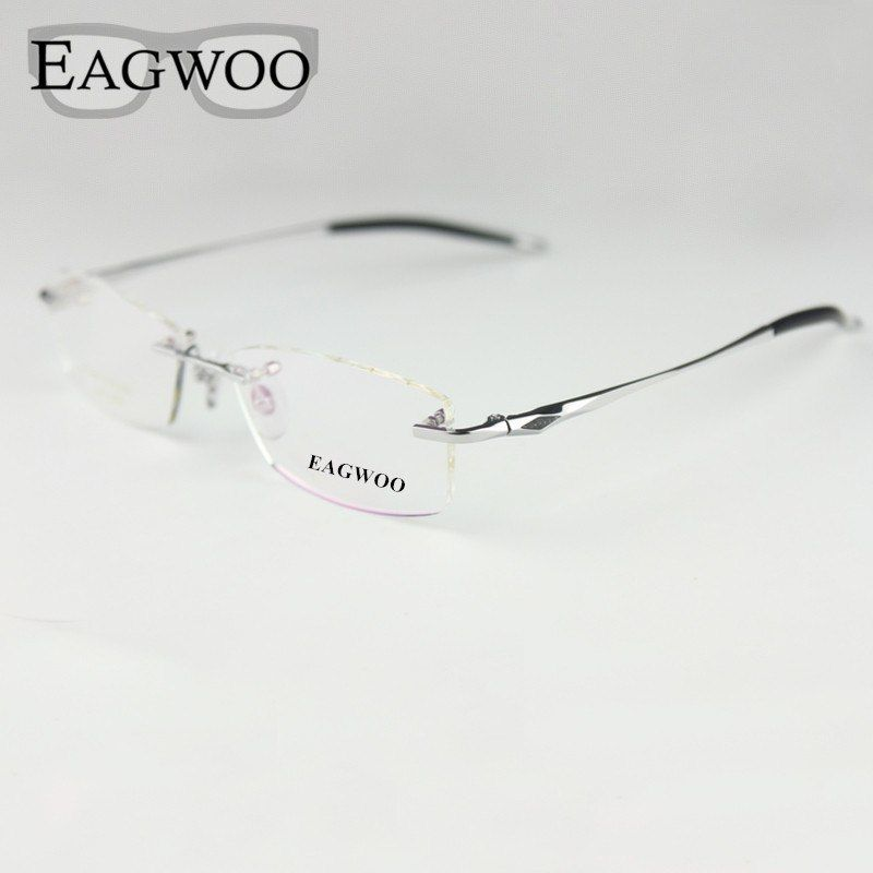 7a773f5b83 Pure Titanium Eyeglasses Rimless Optical Frame Prescription Spectacle  Frameless Glasses For Men Eye Glasses Silicon Foot 16123