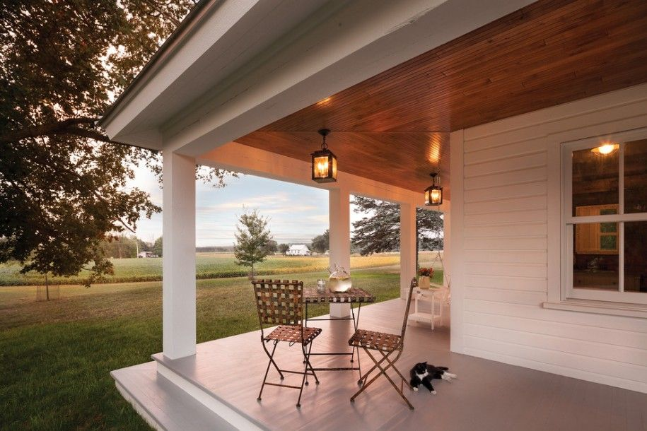 Exterior Design White Wood Siding And Wood Ceilings Also