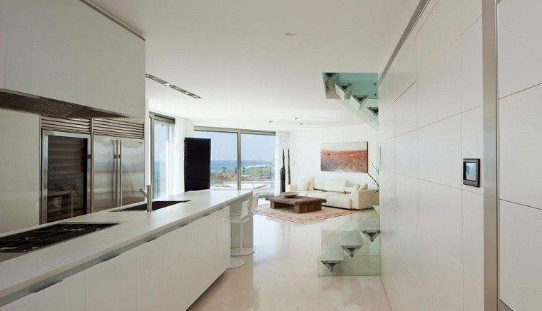 diseño cocinas abiertas salon isla blanca mesa madera ideas ...