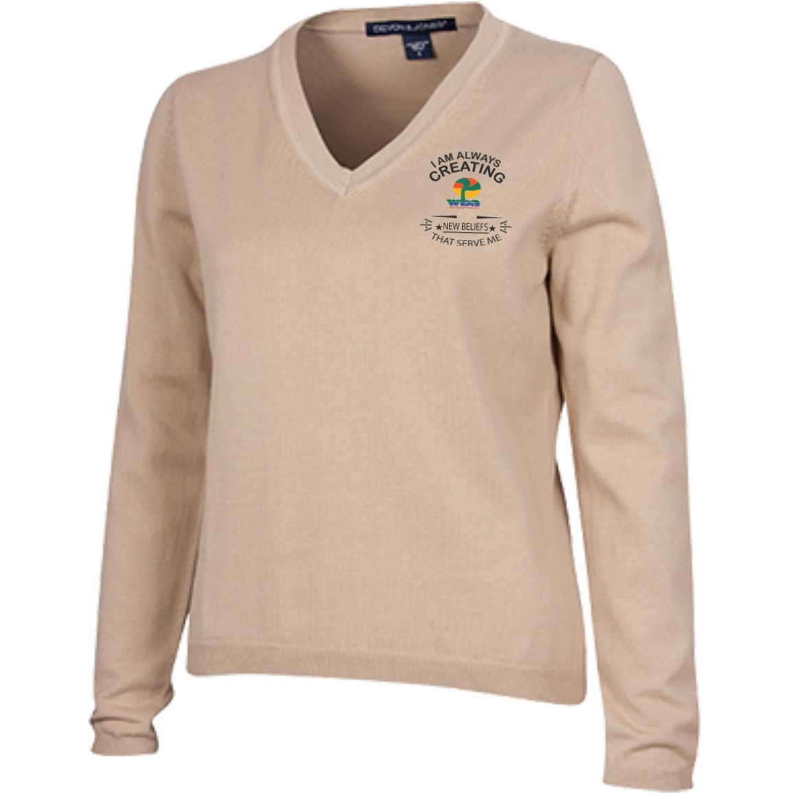 "Customized Spiritual Inspirational Affirmations Ladies V-Neck Sweater ""I Am Creating. . ."""