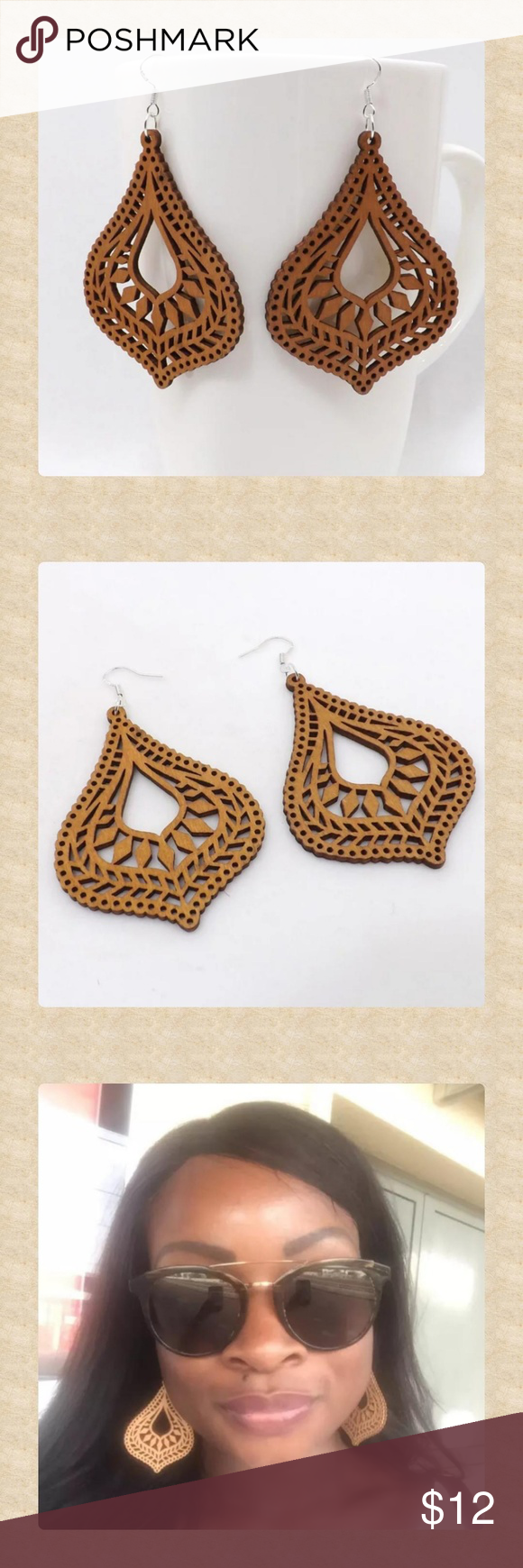 Wooden Cut-out Boho Dangle Earrings! Lovely cut-out, wooden, dangle earrings with lovely intricate boho designs! Great for fall with a chunky sweater!  Measurements posted soon!  boho, global, trendy, statement, natural,  casual, summer, spring, summer, fall, 2018, 2018 Jewelry Earrings