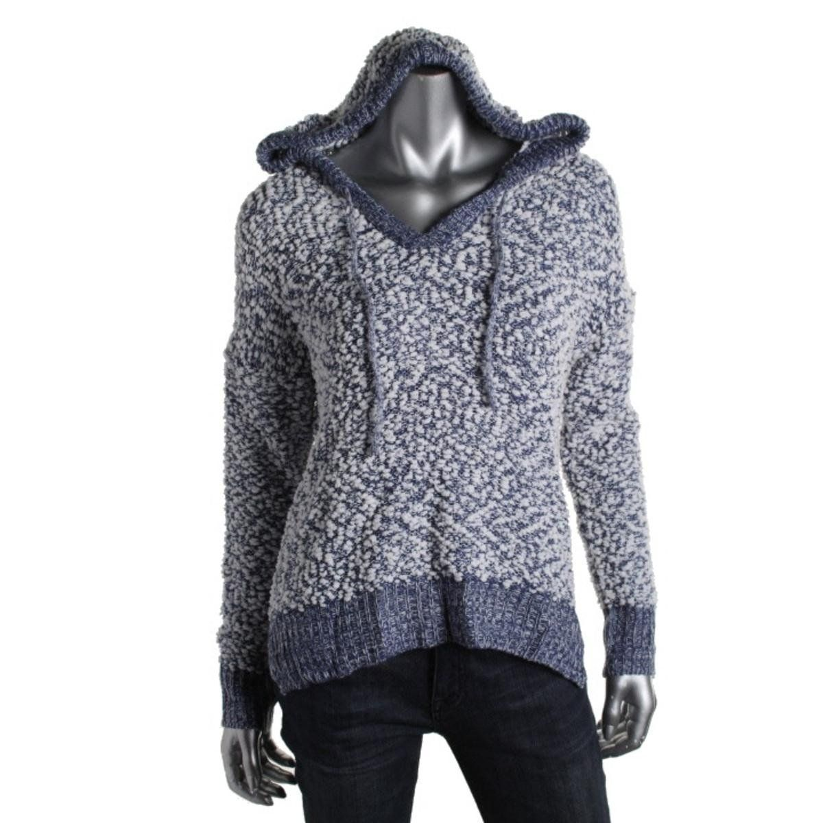 Almost Famous Womens Juniors Popcorn Contrast Trim Hooded Sweater ...