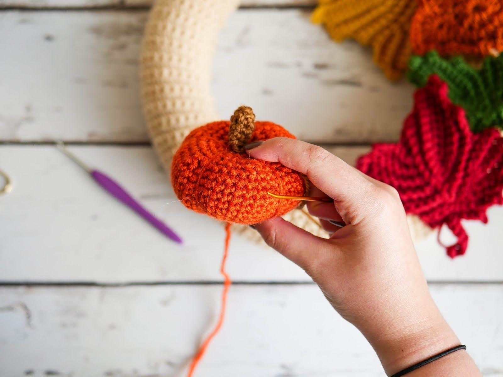 Photo of Mornings of Autumn Crochet Wreath • Sewrella