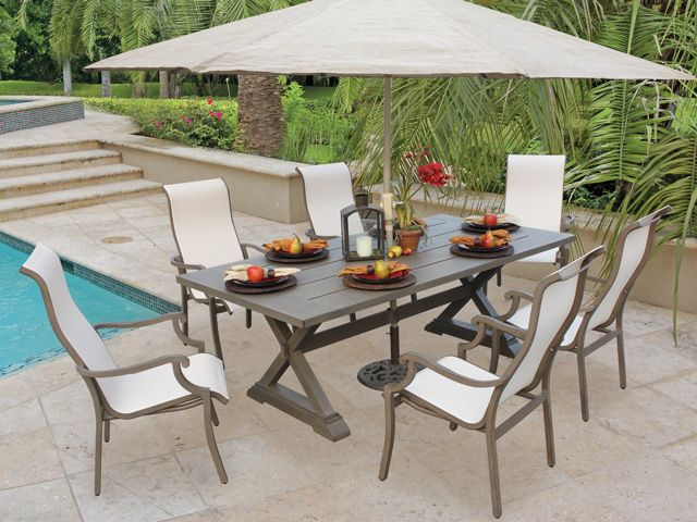 Royal Terrace La Jolla Sling 7 Pc. Aluminum Dining Set sports a slat top  pedestal table and transitional styling. Light and breezy on the eye, too! - Royal Terrace La Jolla Sling 7 Pc. Aluminum Dining Set Sports A Slat