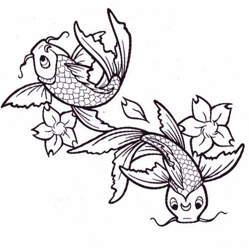 860035561478b printable tattoo stencils | Koi fishes and flowers tattoo stencil 5 (click  for full size)
