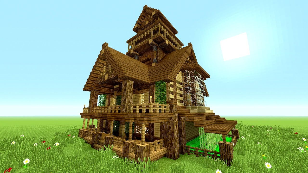Minecraft Tutorial Epic Survival House Tutorial How To Make A Big Hou Minecraft House Designs Minecraft Houses Blueprints Minecraft House Tutorials