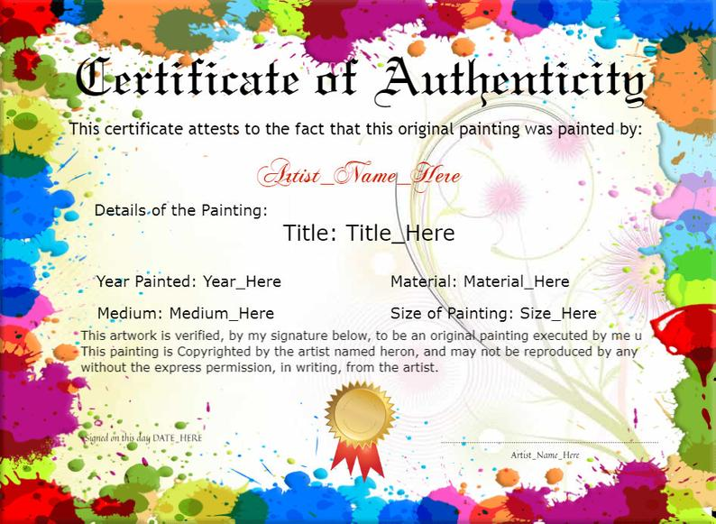 Personalized Original Painting Certificate Of Authenticity Etsy Original Paintings How To Memorize Things Digital Gifts