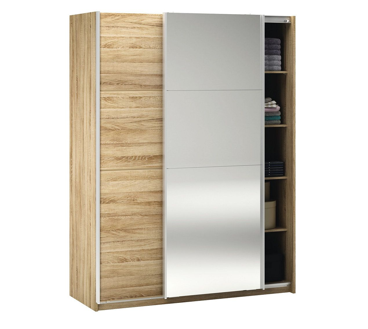 Armoires Armoire 2 Portes Coulissantes Glassy Chene Brosse Avec