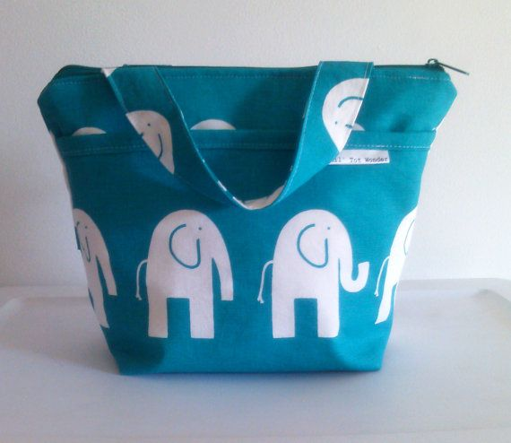 Outer Pocket Elephant Insulated Lunch Bag With by LilTotWonder, $37.00