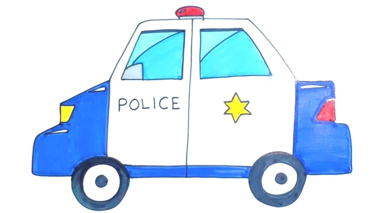 How to Draw Cartoon Police Car for Kids #police #car #kids ...