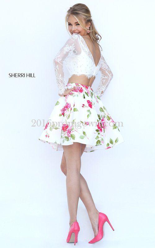 dd0eeeb189 2016 Sherri Hill 50464 Ivory Short Two Piece Floral Prom Dresses ...