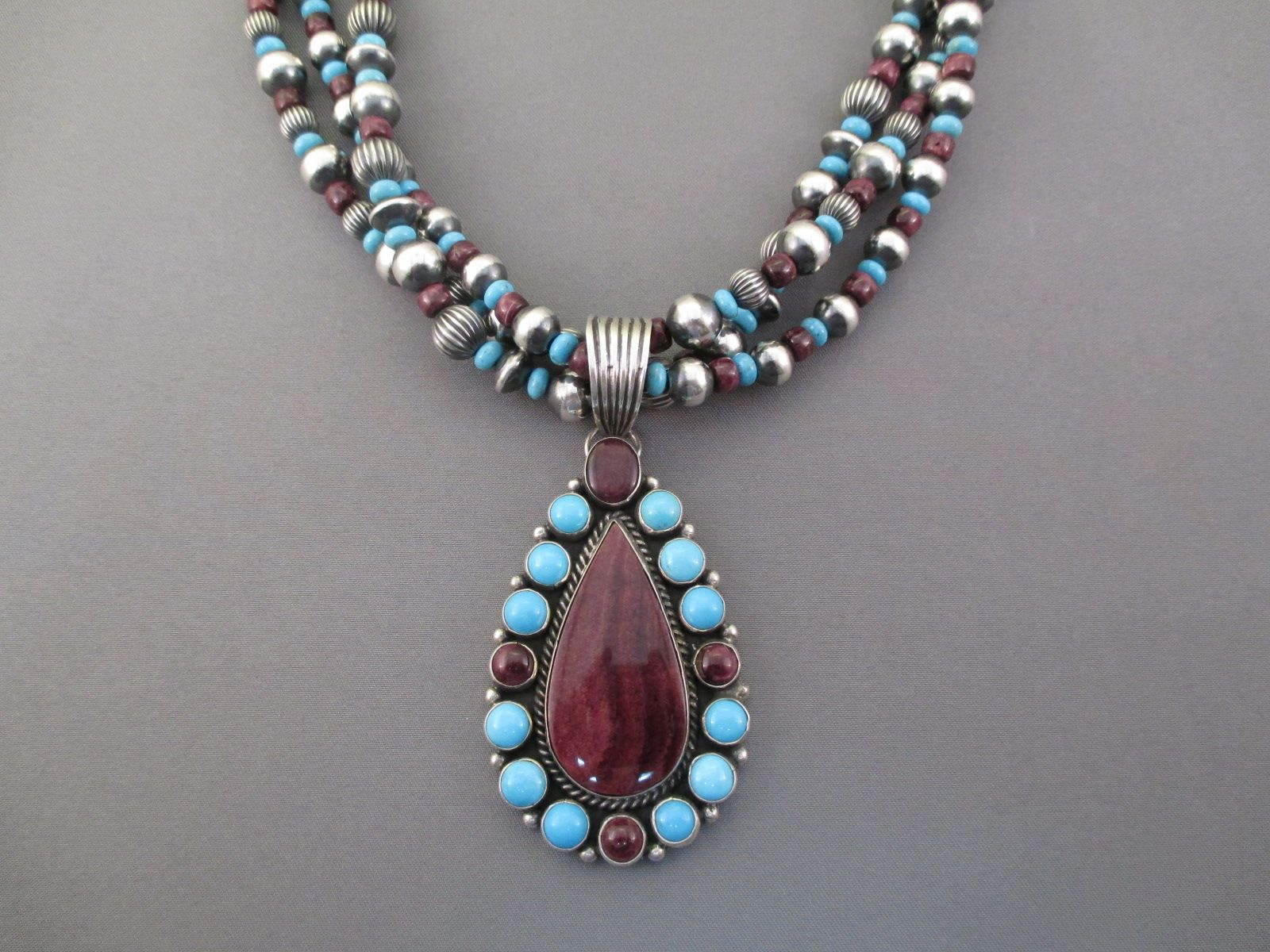 product navajo pendant turquoise necklace defauto town june old jewels sold