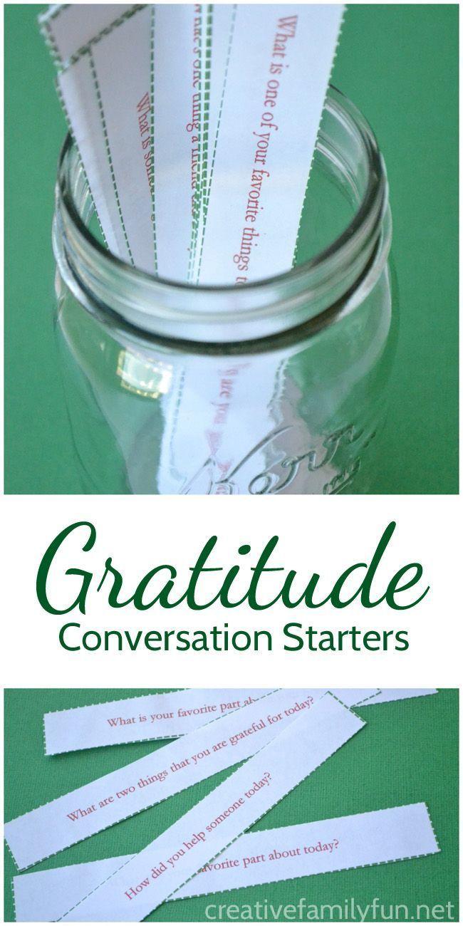 Gratitude Conversation Starters | ♥ Parenting Group Board ...