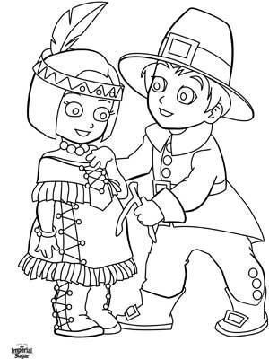 Indian Boy and Pilgrim Girl Coloring Page #thanksgiving