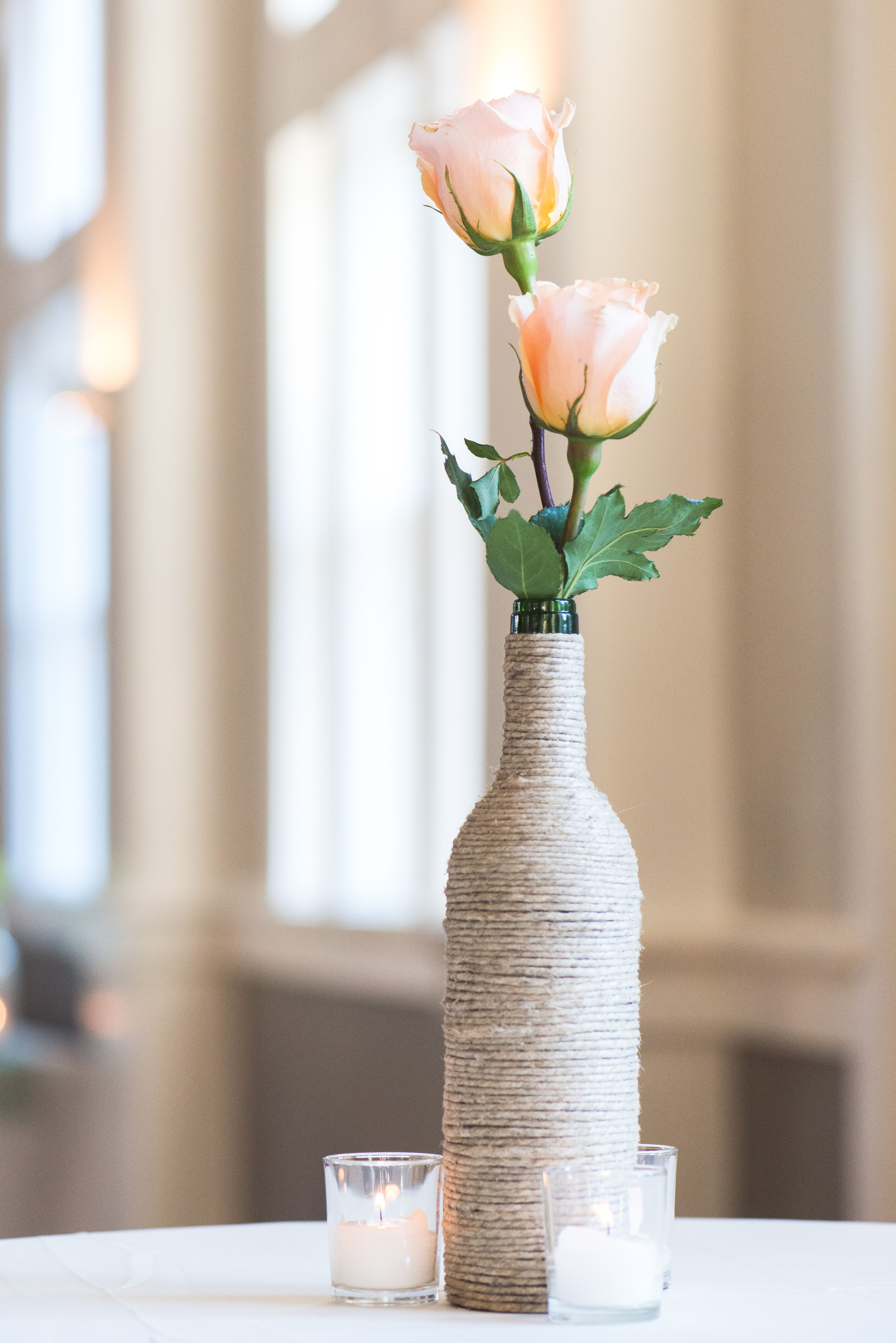 Blush Rose and Twine-Wrapped Wine Bottle Centerpieces   Let\'s plan a ...