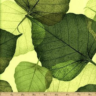 leaves Cotton Fabric - Green FLORA-C1053