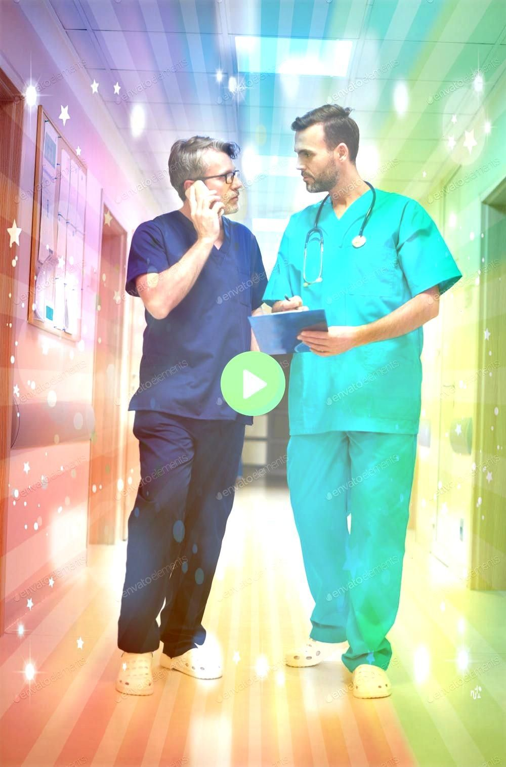 busy doctors on the corridor By gpointstudios photos Two busy doctors on the corridor By gpointstudios photos  Social media and teamwork icons Doodle images Management bu...