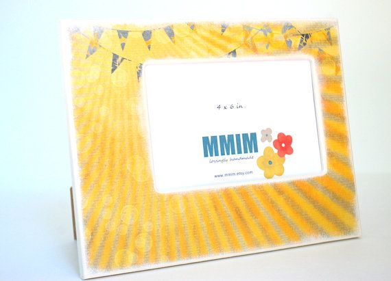 Sunshine Bunting Picture Frame  4 x 6 Picture Frame by Mmim, $22.00