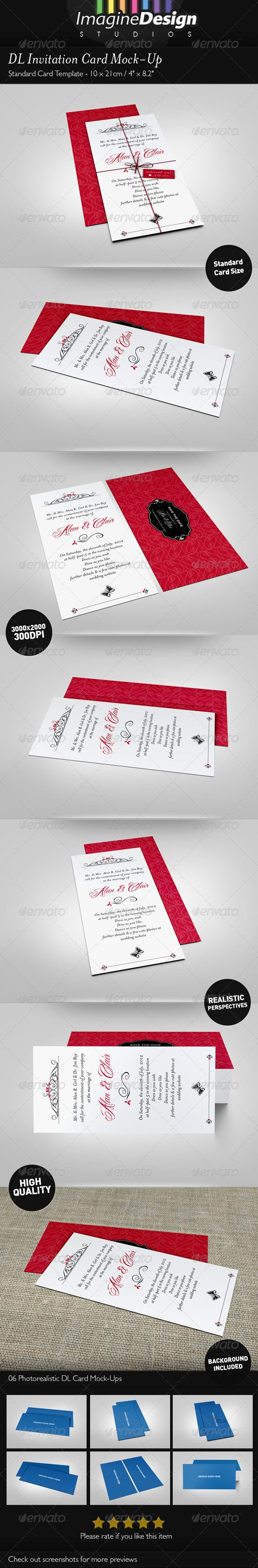 DL Invitation Card MockUp Mockup Template and Print layout