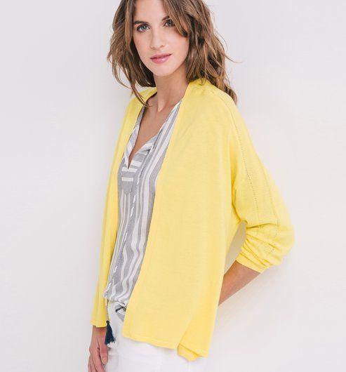 gilet l ger femme jaune citron promod jaune citron clair jaune citron et femme. Black Bedroom Furniture Sets. Home Design Ideas