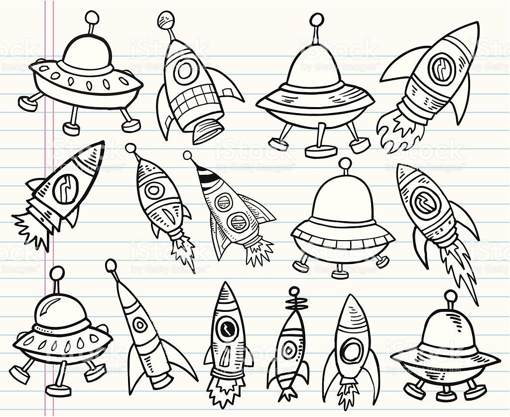 Cute Doodle Outer Space Vector Set