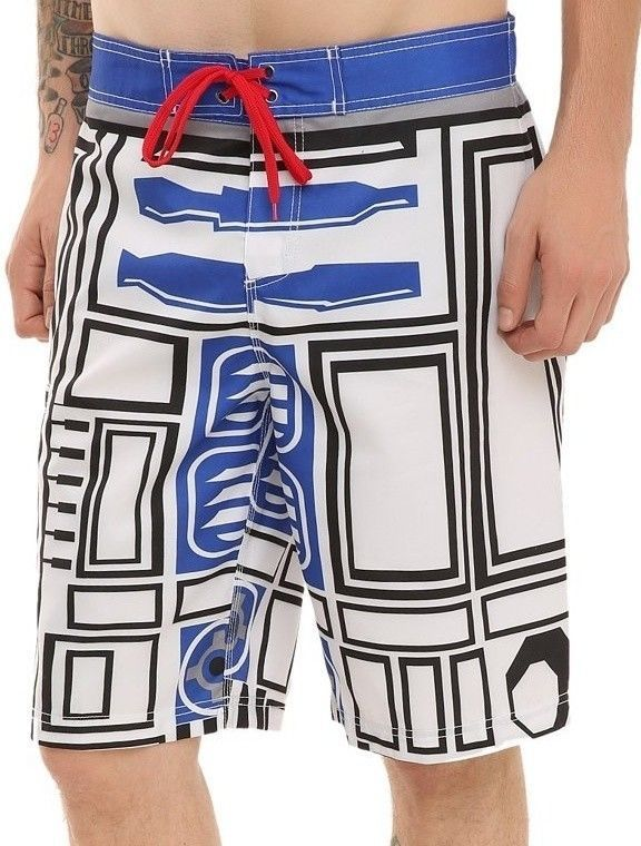 f161805a00910 Details about NEW STAR WARS R2-D2 Men's Bathing Suit Board Shorts ...