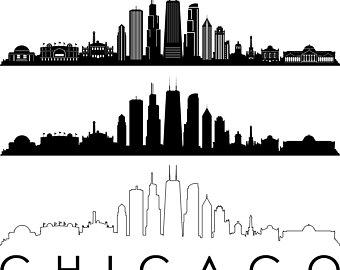Chicago Skyline Outline Silhouette Svg Eps Jpg Png Chicago Skyline Silhouette City Skyline Silhouette Chicago Skyline Tattoo
