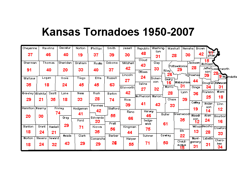 goodland kansas |  distribution of tornadoes in Kansas since