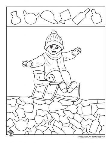 Winter Sledding Hidden Picture Worksheet