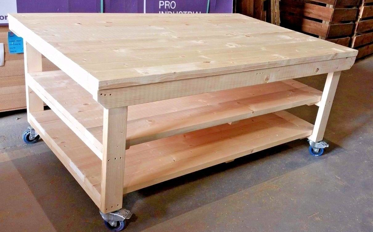 details about wooden workbench with wheels - 4ft to 8ft x