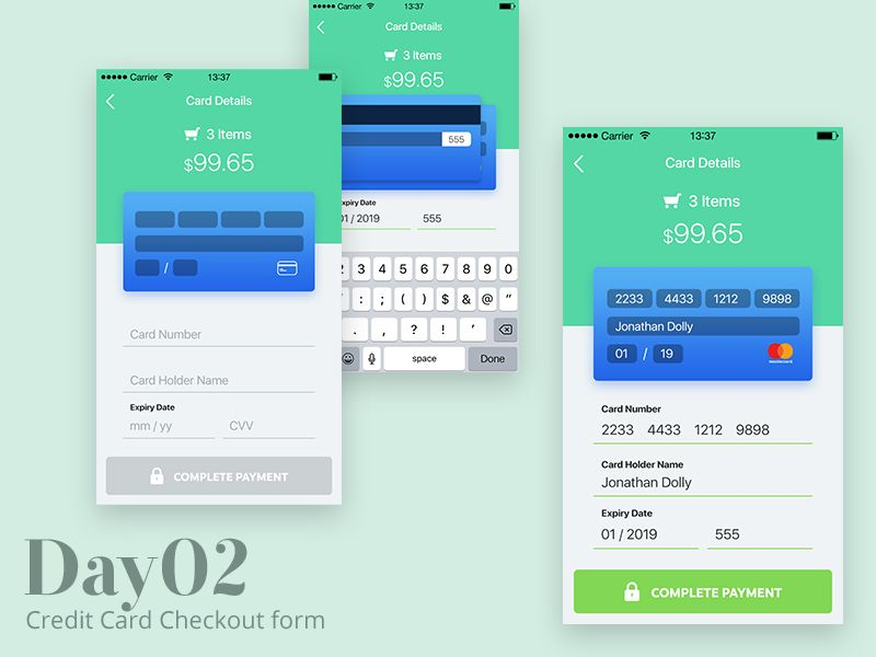 Credit Card Checkout Form Mobile ui, Card templates and Template - credit card form
