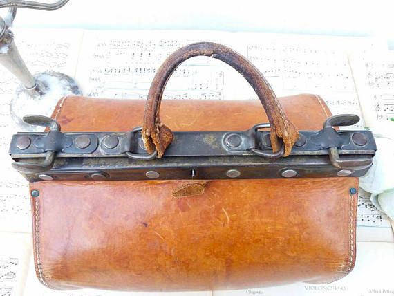 Beautiful French Leather Hand Made Doctor Bag Vintage Antique Purse Midcentury