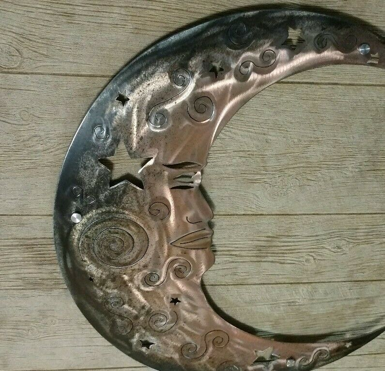Wall Art Moon Rustic Metal Moon Outdoor Front Porch Deck Cottage Decorations Art Decor In 2020 Patio Wall Art Patio Wall Decor Cottage Decor