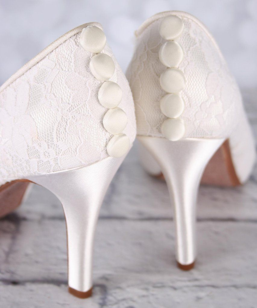 Ivory Platform Peep Toe Wedding Shoes With Lace Overlay And Satin Buttons Bridal Shoe Bridal Sho Elegant Wedding Shoes Ivory Bridal Shoes Ivory Wedding Shoes