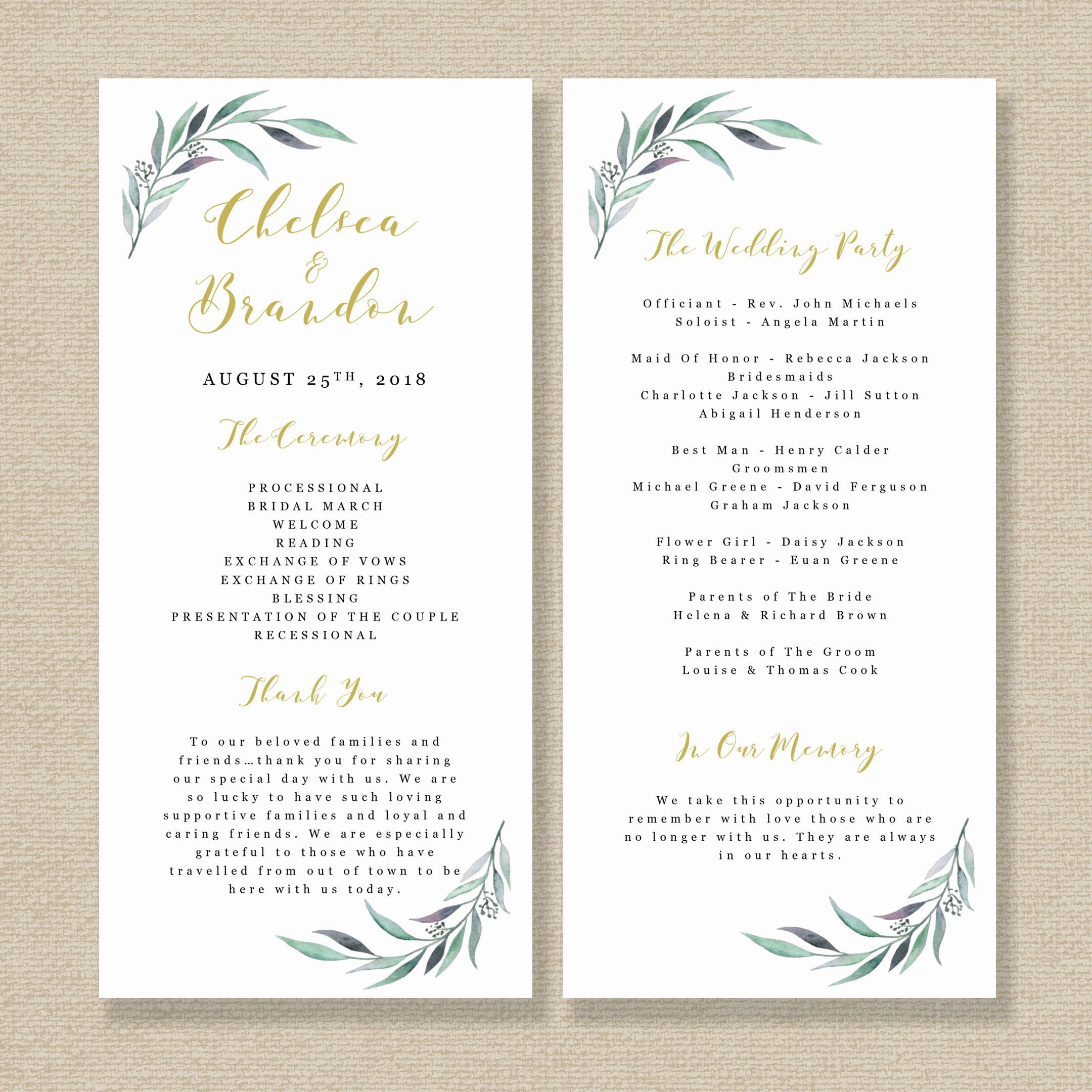 Printable Wedding Program Template Order Of Service Template Teal - Wedding invitation templates: wedding order of service template