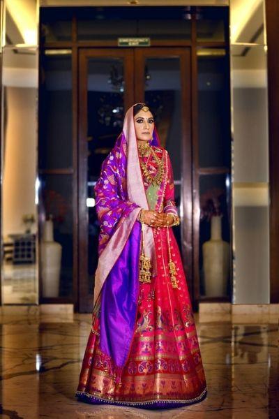 954d1eccb6d63 Light Lehengas - Benarasi Red and Purple Lehenga with a Choker Gold  Necklace | WedMeGood #wedmegood #Indianbride #indianwedding #benarsi # lehenga # ...